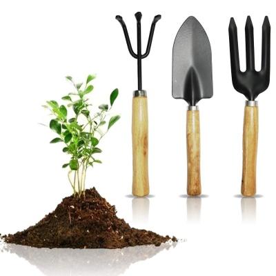 Wooden Handle Gardening Tools kit Hand Cultivator, Small Trowel, Garden Fork (Set of 3)