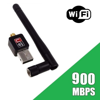 WiFi USB Adapter- 900 mbps, 900mbps with Antenna/Wireless LAN/USB 2.0 Adaptor/Mini Dongle 802.IIN/SMA Connection/Works with PC + MAC | for Win 10/Win 8/Win 7/OSX (300 Mbps)