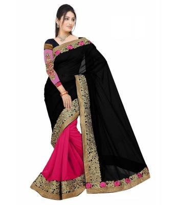 Divyanka Black Design Fashion Georgette Sarees- For Women