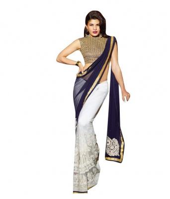 Jeklin White Design Fashion Georgette Sarees- For Women
