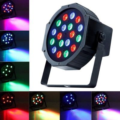 DJ Lights 18 LEDs DMX 512 RGB Color Mixing Wash Can Par Light for Disco (Black)
