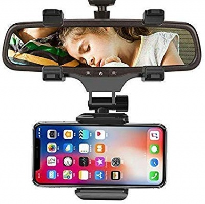 Mobile Phone Holder for Car Rear View Mirror Generation Car Model Anti Shake Fall Prevention | Full Rotation | Anti-Vibration Pads Stand | Adjustable Car Mount Upto 6.5 inch Mobiles
