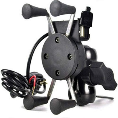 Spider Bike Mobile Holder with USB 2.0 Fast Charger X Grip Spider Universal Motorcycle Car 360 Degree Rotating for All Android Devices Up to 7 Inches Mobiles (Black)