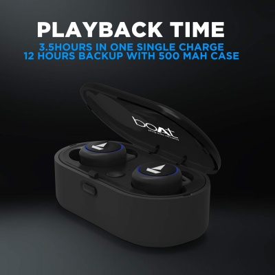 boAt Airdopes 311v2 True Wireless Earbuds (Bluetooth V5.0) with HD Sound and Sleek Design, Integrated Controls with in-Built Mic and 500mAh Charging Case (Active Black)