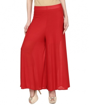 Plain Palazzo for women-003 Red