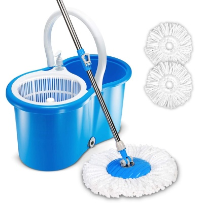 Multi Use Spin Bucket System Mop with Extended Length Handle 2 Microfiber Mop Heads 360° Rotation Easy Floor Mop (Multi-Color)