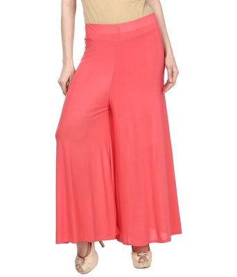 Palazzo -007 (Peach) Pant for Women Lycra Palazzo Flared Trouser for Women's (Free Size)