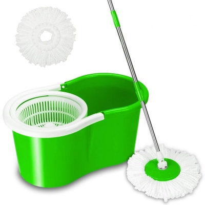 Cleaning Spin Bucket System Mop with Extended Length Handle 2 Microfiber Mop Heads 360° Rotation Easy Floor Mop (Multi-Color)