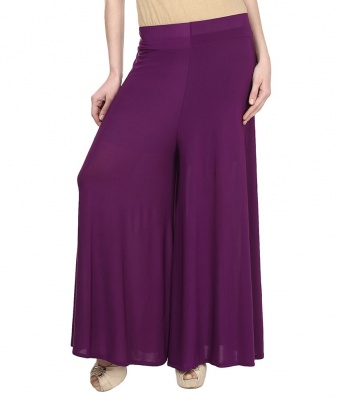 Palazzo -009(Purple) Pant for Women Lycra Palazzo Flared Trouser for Women's (Free Size)