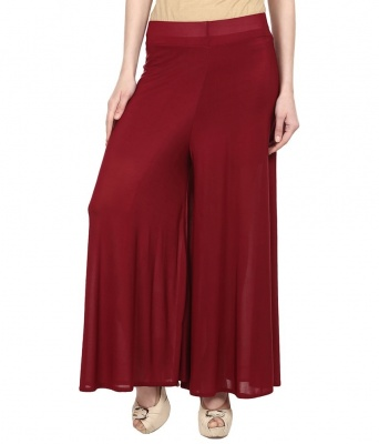 Palazzo -010(Maroon) Pant for Women Lycra Palazzo Flared Trouser for Women's (Free Size)