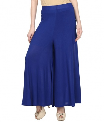 Palazzo -011(Blue) Pant for Women Lycra Palazzo Flared Trouser for Women's (Free Size)