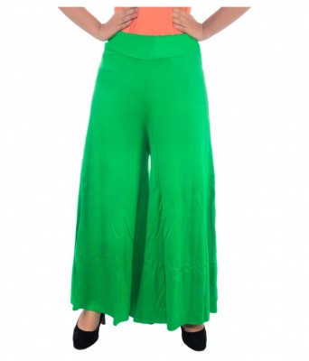 Palazzo -012(Light Green) Pant for Women Lycra Palazzo Flared Trouser for Women's (Free Size)