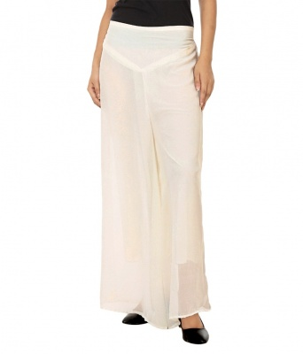 Palazzo -014(Cream White) Pant for Women Lycra Palazzo Flared Trouser for Women's (Free Size)