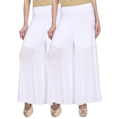 The Echt Palazzo -016 (White) Pant for Women Lycra Palazzo Flared Trouser for Women's Pack of 2 (Free Size)
