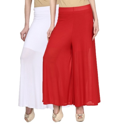 Palazzo -018 (White,Red) Pant for Women Lycra Palazzo Flared Trouser for Women's Pack of 2 (Free Size)