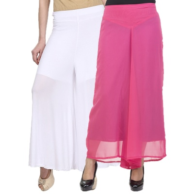 Palazzo -019 (White,Pink) Pant for Women Lycra Palazzo Flared Trouser for Women's Pack of 2 (Free Size)