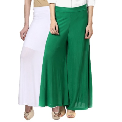 Palazzo -020 (White,Green) Pant for Women Lycra Palazzo Flared Trouser for Women's Pack of 2 (Free Size)