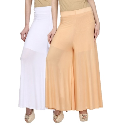 Palazzo -023 (White,Cream) Pant for Women Lycra Palazzo Flared Trouser for Women's Pack of 2 (Free Size)