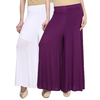 Palazzo -024 (White,Purple) Pant for Women Lycra Palazzo Flared Trouser for Women's Pack of 2 (Free Size)