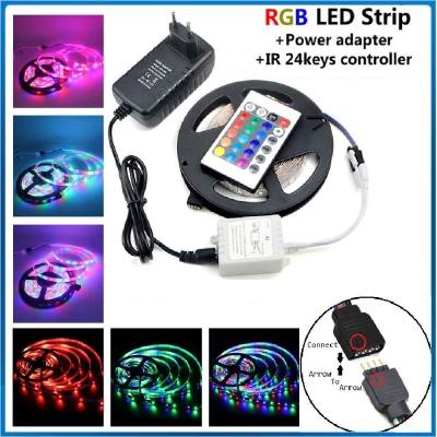 Waterproof 5M RGB 2835/3528 Led Strip,24 Keyir Remote Controller,Power Suppy