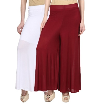 Palazzo -025 (White,Maroon) Pant for Women Lycra Palazzo Flared Trouser for Women's Pack of 2 (Free Size)