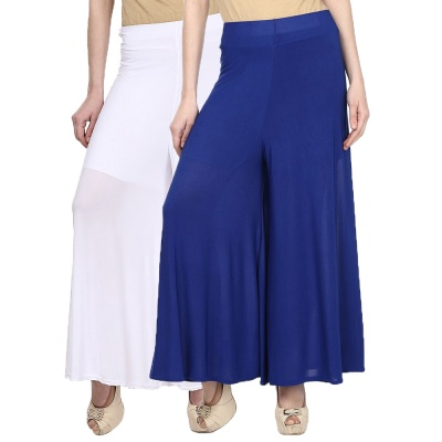 Palazzo -026 (White,blue) Pant for Women Lycra Palazzo Flared Trouser for Women's Pack of 2 (Free Size)