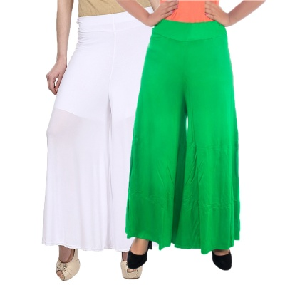 Palazzo -027 (White,Lightgreen) Pant for Women Lycra Palazzo Flared Trouser for Women's Pack of 2 (Free Size)