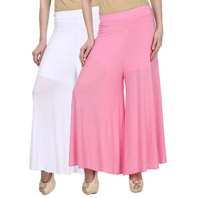 Palazzo -028 (White,Babypink) Pant for Women Lycra Palazzo Flared Trouser for Women's Pack of 2 (Free Size)
