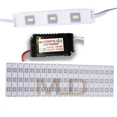 3 LED strips 12V Waterproof 5630/5730 LED SMD Injection module White- 20 module Combo Offer (With 12V Dc Driver Free)-(2 Amp)