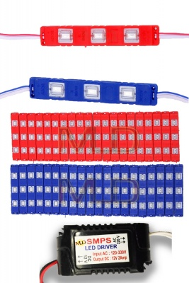 3 LED strips 12V Waterproof 5630/5730 LED SMD Injection module Red,Blue- 40 module Combo Offer (With 12V Dc Driver Free)-(2 Amp)