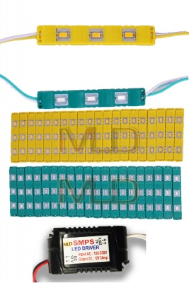 3 LED strips 12V Waterproof 5630/5730 LED SMD Injection module Yellow,Green- 40 module Combo Offer (With 12V Dc Driver Free)-(2 Amp)