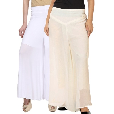 Palazzo -029 (White,Creamwhite) Pant for Women Lycra Palazzo Flared Trouser for Women's Pack of 2 (Free Size)