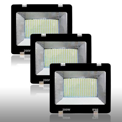 200 Watt 5630/5730 SMD Base Ultra Thin Slim Metal Body LED Flood Outdoor Light IP65 / 66HV Water Resistant Cool Day Light White Flood-200W-Pack of 3