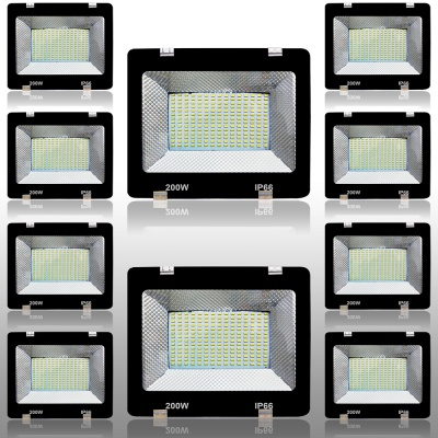 200 Watt 5630/5730 SMD Base Ultra Thin Slim Metal Body LED Flood Outdoor Light IP65 / 66HV Water Resistant Cool Day Light White Flood-200W-Pack of 10