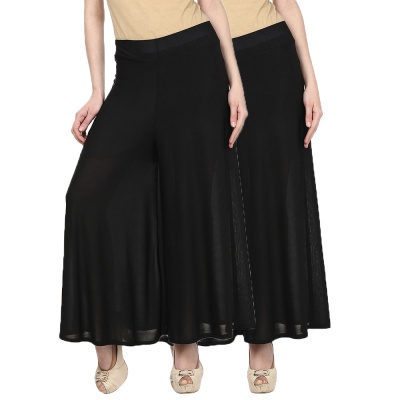 Palazzo -031(black) Pant for Women Lycra Palazzo Flared Trouser for Women's Pack of 2 (Free Size)