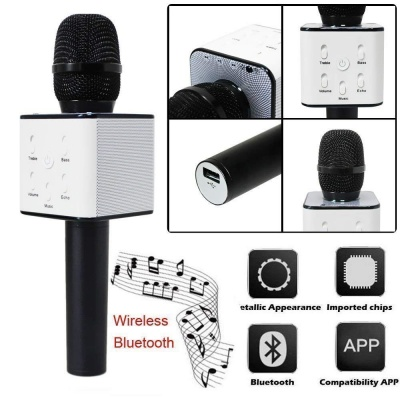 The Echt Q7 Handheld Wireless Mike | Multi-Function Bluetooth Karaoke Singing Mic with Microphone Speaker for All Smart Phones (Black)