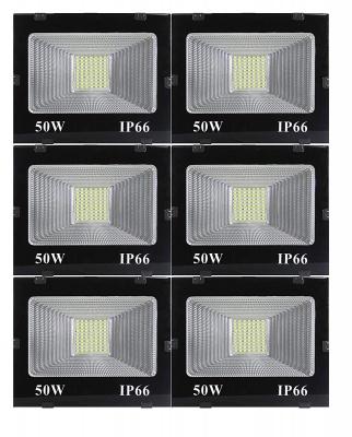 50 Watt Ultra Thin Slim Ip66 LED Flood Outdoor Light Cool White Waterproof (Pack of 6)