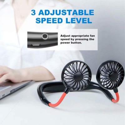 Hanging Neck Fan - Hand Free Portable Neck Sports Fans, USB Rechargeable Personal Wearable Fan Headphone Design Mini Neckband Fan for Office Outdoor Travel