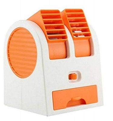 MLD Imported Mini Small Cooling Portable Desktop Dual Bladeless Air Cooler USB (Multicolor)