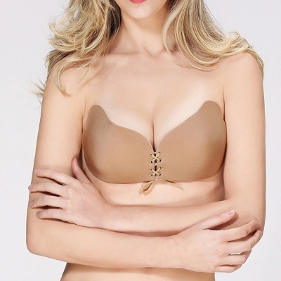 Self Adhesive Freebra Backless Fashion Invisible Silicone Stick on Cups Soft and Natural Strapless Push-Up Bra