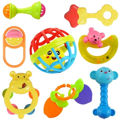 Colourful Plastic Non Toxic Set of 8 Teether and Rattle for New Borns and Infants