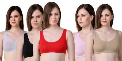 Women's Air sports Bra- Pack of 5 (Free Size, Size of 28 to 38)