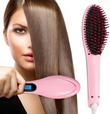 Hair Electric Comb Brush 3 in 1 Ceramic Fast Hair Straightener For Women's Hair Straightening Brush with LCD Screen, Temperature Control Display,Hair Straightener For Women (Pink)