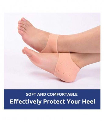 2pcs Silicone Heel Protector Toe Socks Heel Crack Heel Chapped Sets Men and Women,Peach