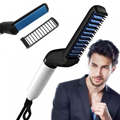 Quick Hair Styler for Men Electric Beard Straightener Massage Hair Comb Beard Comb Multifunctional Curly Hair Straightening Comb Curler, Beard Straightener, Beard Straightener For Men(Black)