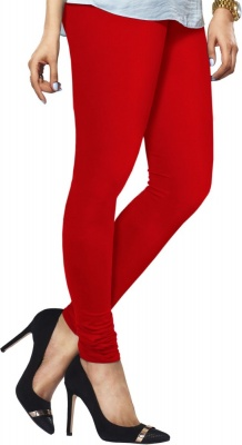 Cotton Lycra Stretchable Leggings for Women- (Red, Free Size)