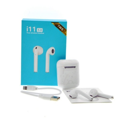 Wireless Earphone with Portable Charging Case Supporting All Smart Phones and Android Phones with Sensor (White)