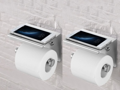 Europeanize Toilet Paper Holder Wall-Mounted 304 Stainless Steel Tissue Roll Holder with Mobile Phone Stand for Bathroom (Pack of 2)