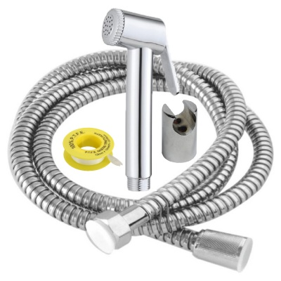 FJC1602705 Health Faucet ABS with Rubbit Cleaning System, 1.5 Meter Long Stainless Steel Flexible Tube and ABS Wall Hook (Multicolor)