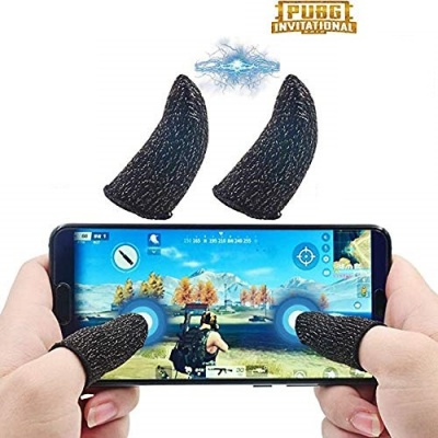Gaming Touchscreen Conductive Fiber Cap Anti-Sweat Breathable Touch Finger Gloves for Mobile Phone Games Better Than PUBG Trigger,2 Pieces Pubg Finger Gloves or Sleeve (Pack of 1 Pair)